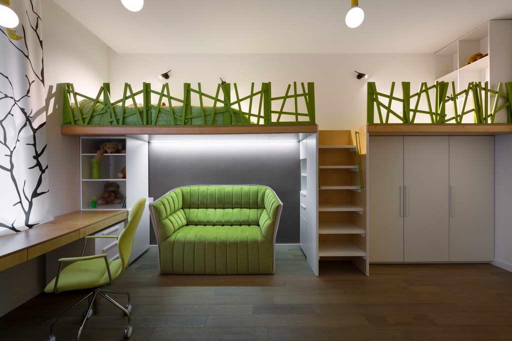 green kids room design ideas,green sofa in kids room,tree inspired design,children's room design ideas,childrens room decor,