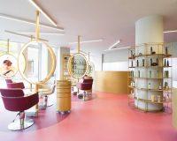 feminine salon and beauty center,hair salon design ideas,beauty lounge decoration,vibrant pastel color palette,pink flooring ideas,