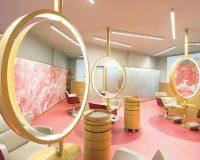 beauty salon designs for interior,furniture for hairdressing salon,hairdressing salon design,feminine interior decorating,round mirror with light designs,