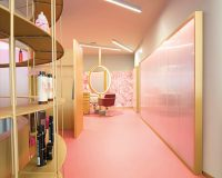 architecture hair salon,pink floor commercial interior design,hair salon design ideas,large mirror in beauty salon,feminine color combinations,