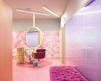 pink color schemes for hair salons,velvet benches seat purple,furniture for hairdressing salon,hairdressing salon design,feminine interior decorating,