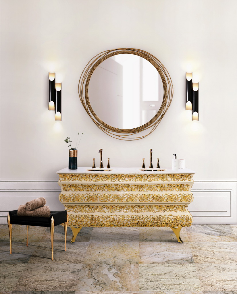 Winter Inspiration Bathroom Design - White and Golden Accents ...