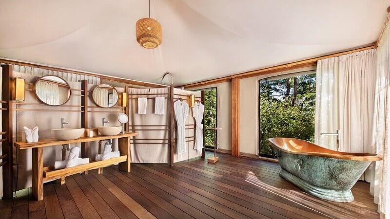 natural materials bathroom,wood wash basin stand,luxury freestanding bathtubs,hotel bathroom designs,eco retreat costa rica,