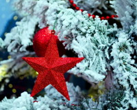 red star Christmas ornaments,how to decorate living room for Christmas,red star on the Christmas tree,red green white holiday decor,red color holiday decor ideas,