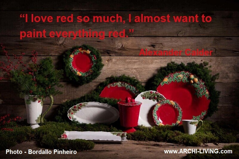 alexander calder famous quotes,red color quotes by painters,famous quotes about art and painting,red and white table settings,colorful tableware sets,