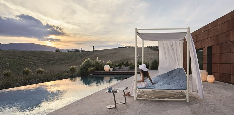 outdoor daybed with canopy,girl with white hat images,relaxing garden furniture,outdoor seating for a couple,design an outdoor living space,