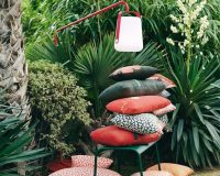balad lamp by fermob,red and white garden lamp,french designer lighting,tristan lohner balad,colorful decorative outdoor cushions,