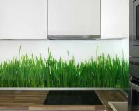 green grass kitchen backsplash,staklo u kuhinji slike,green white brown kitchen,modern white kitchen cabinets,designer kitchen backsplash ideas,