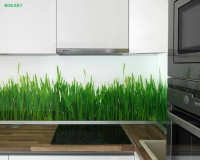 glass backsplash kitchen ideas,photo backsplash glass,green grass wall decoration,