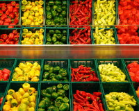 green yellow red peppers,green yellow red vegetables,colorful food in the store,colorful vegetables images,paprika vegetable shop,