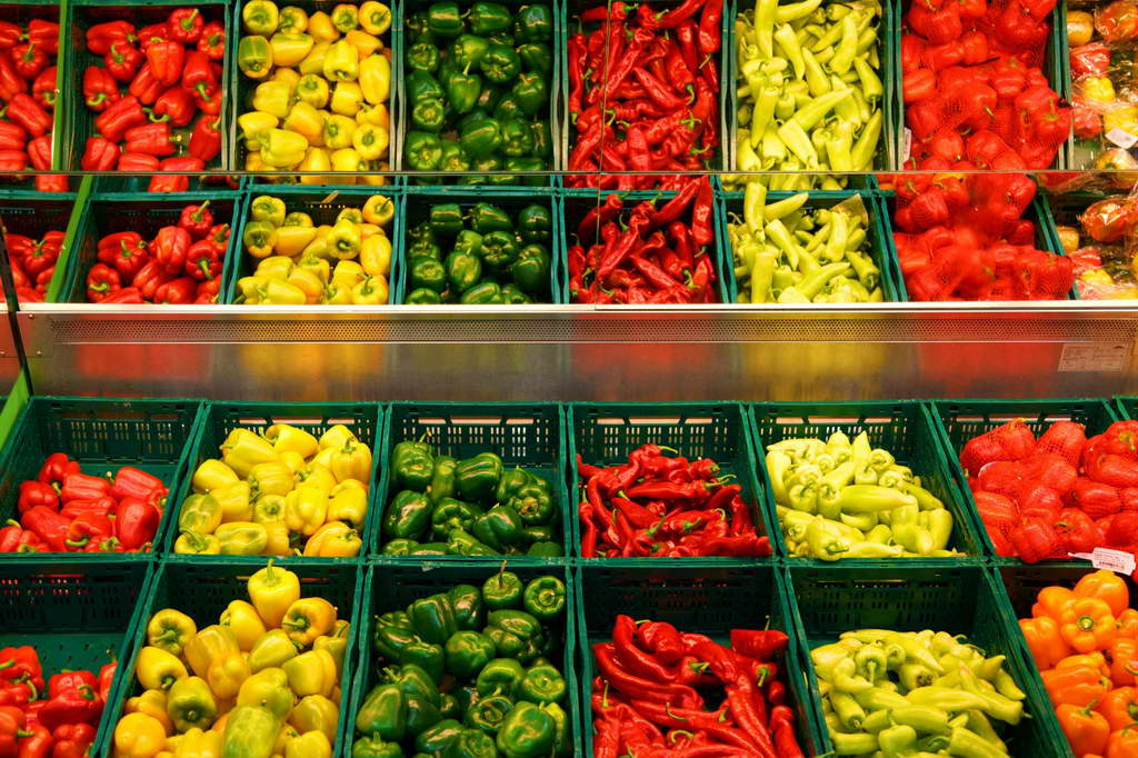peppers,green peppers,red peppers,yellow peppers,colorful vegetables,food store display,store display,window display,colorful food,food ideas,