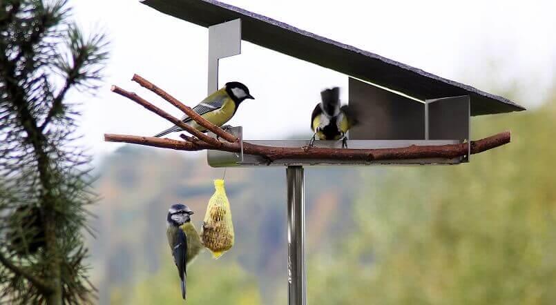 bird feeder slate roof,bird feeder stainless steel,birdhouse for the garden,stainless steel bird house,birdhouse stone roof,