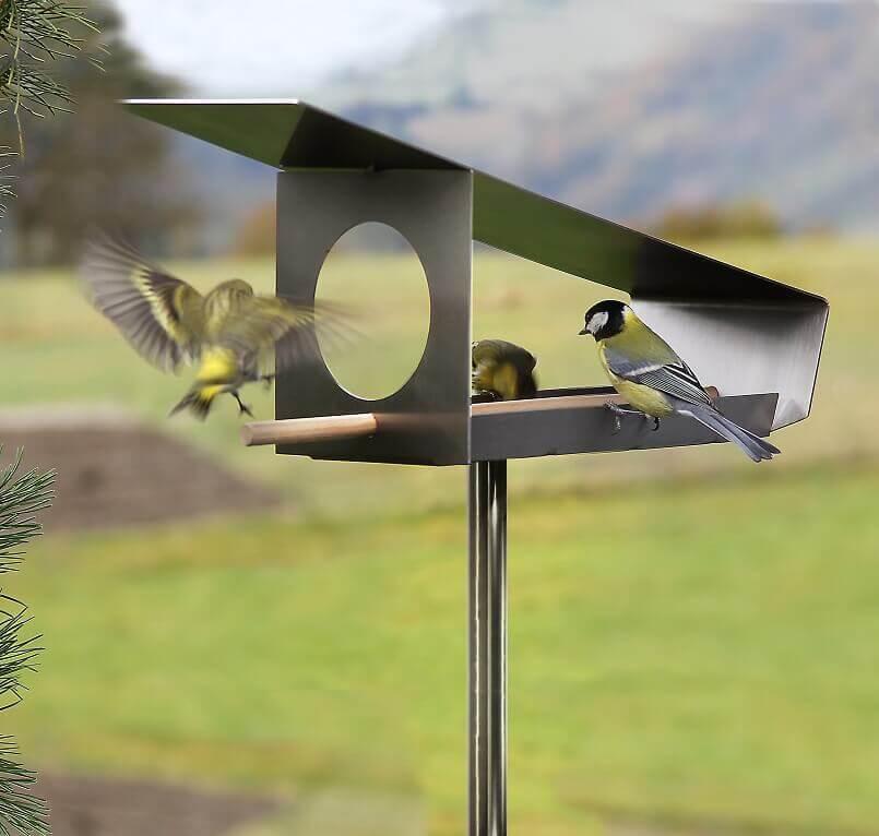 bird feeder stainless steel,rust proof bird feeding station,birdhouse made of metal,birdhouse for the garden,stainless steel bird house,