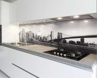 white glass kitchen backsplash tiles,print za kuhinjsko staklo,modern white kitchen cabinets,kitchen backsplash neutral colors,city photo kitchen decorations,