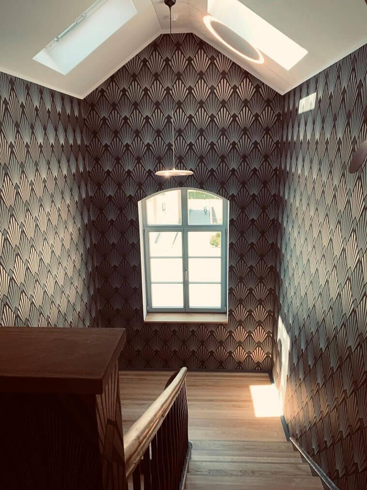 wooden stairs design,boutique hotel interior design ideas,stairway wall design ideas,stairway in hotel design ideas,wallpaper for the wall,
