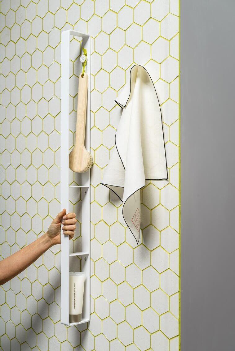 ever life design bar rack,creative accessories for bathroom,white and yellow bathroom ideas,bar vertical wall rack,hexagonal tiles bathroom designs,
