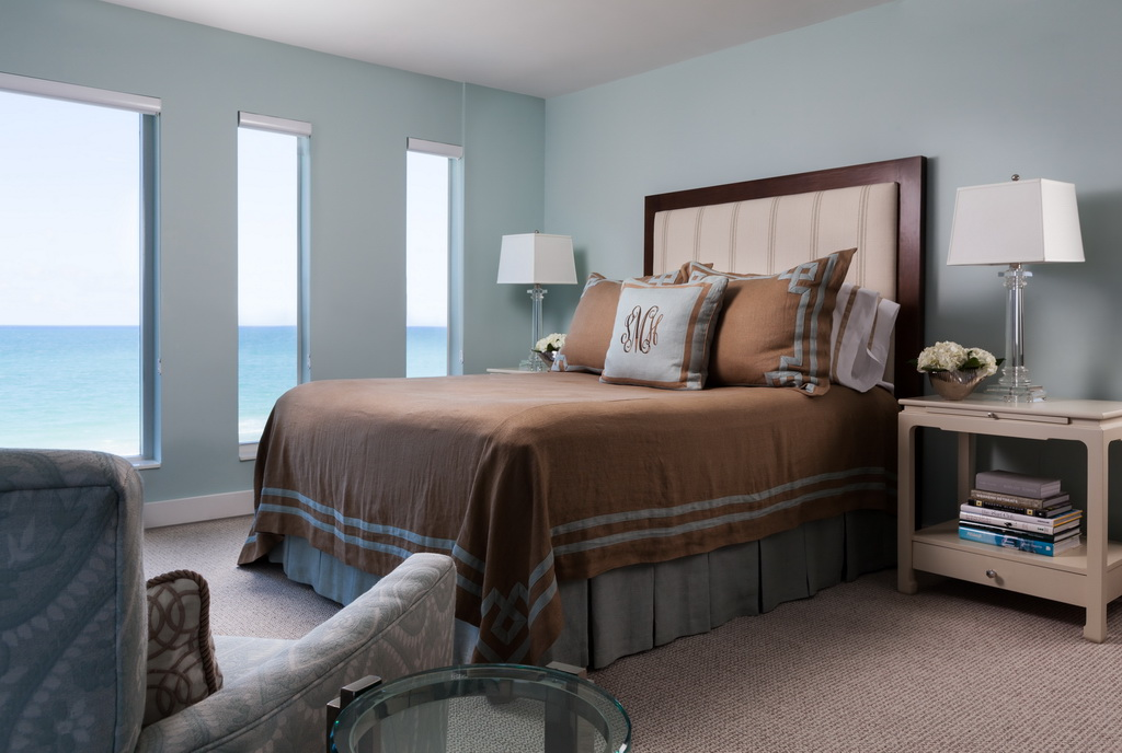 bedroom with a sea view,brown and green bedding sets,traditional bedroom ideas,high end bed designs,ocean view bedroom ideas,