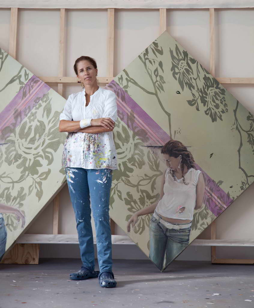 woman in a painting,entrance to art studio,inside painters studios,modern family house projects,florida artists,