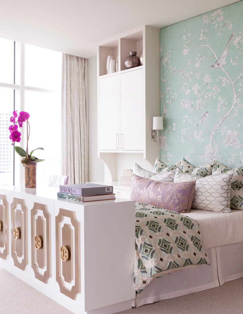 feminine bedroom decor,white and green bedroom,green bedroom wallpaper ideas,romantic bedroom design,many pillows on bed,