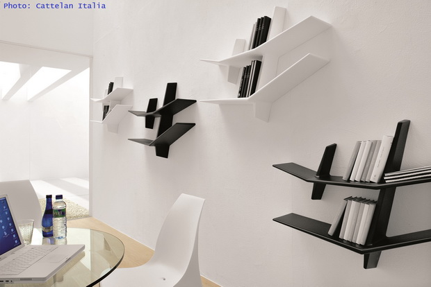 modern office shelves,designer shelves wall,home office design,white office chair,glass office table,
