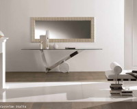 glass console table decor,how to choose the right size lobby mirror,white and brown luxury interior design,cattelan italia console table,lobby design in neutral colors,