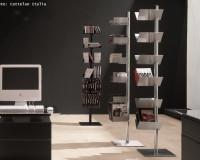 creative home office space ideas,white and black home office,designer shelves for living room,metallic bookshelves office design,cattelan italia furniture italy,