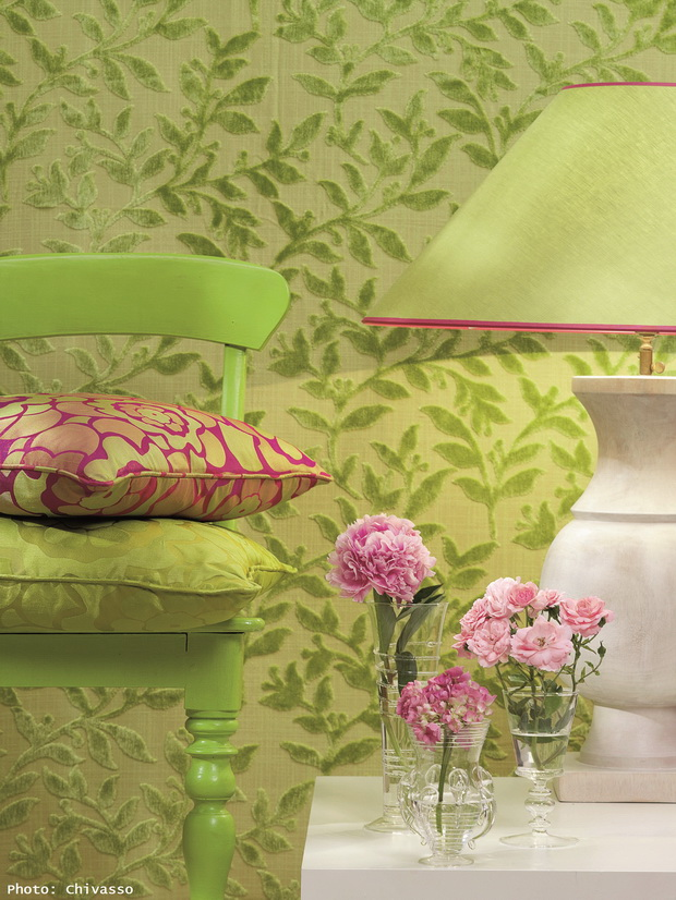 green fabric ideas,pink textile designs,green and pink decor,green wall cover design,decorating with patterns and textures,