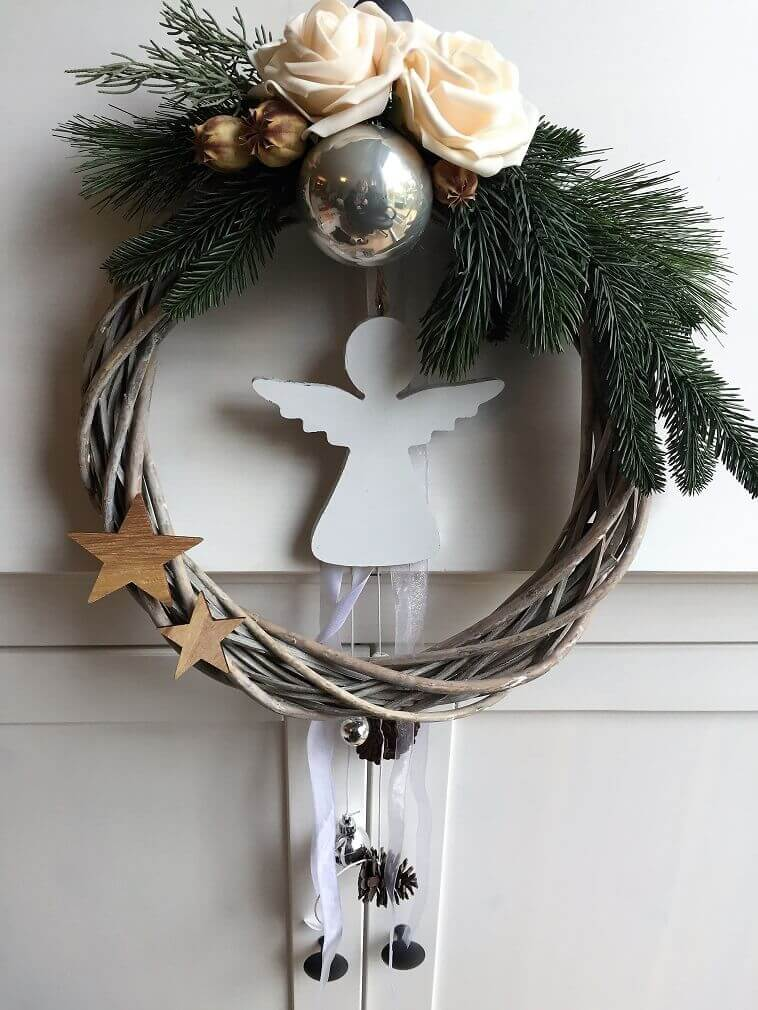 natural Christmas wreath,holiday door wreaths,Feng Shui door decoration,holiday ornaments with angels and stars,white angel Christmas decorations,