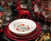 Merry Christmas decorative plates,red green white Christmas decor,red white table decorations,colorful holiday table,dining room table setting for Christmas,