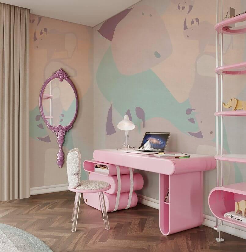 luxury feminine home office design,luxury wall mirror for home office,pink home office design,colorful home office desk,pink home office desk,