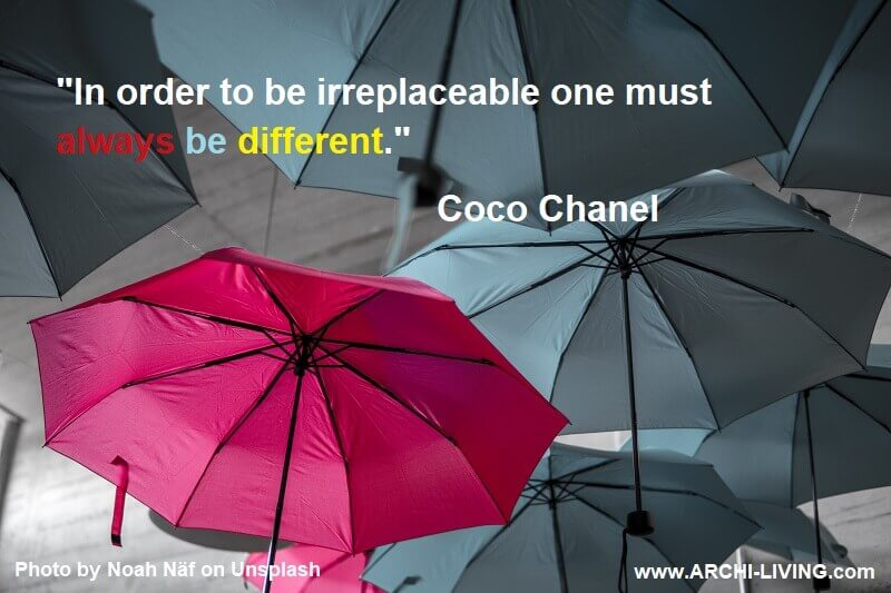 red umbrella among grays,coco chanel quotes photos,quotes by fashion designers,coco chanel quote about being different,quotes about being different,