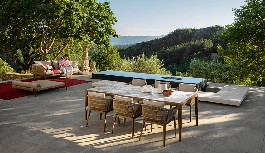 designer teak outdoor furniture,ludovica e roberto palomba,talenti dining table,designer garden dining furniture,luxury outdoor dining table and chairs,