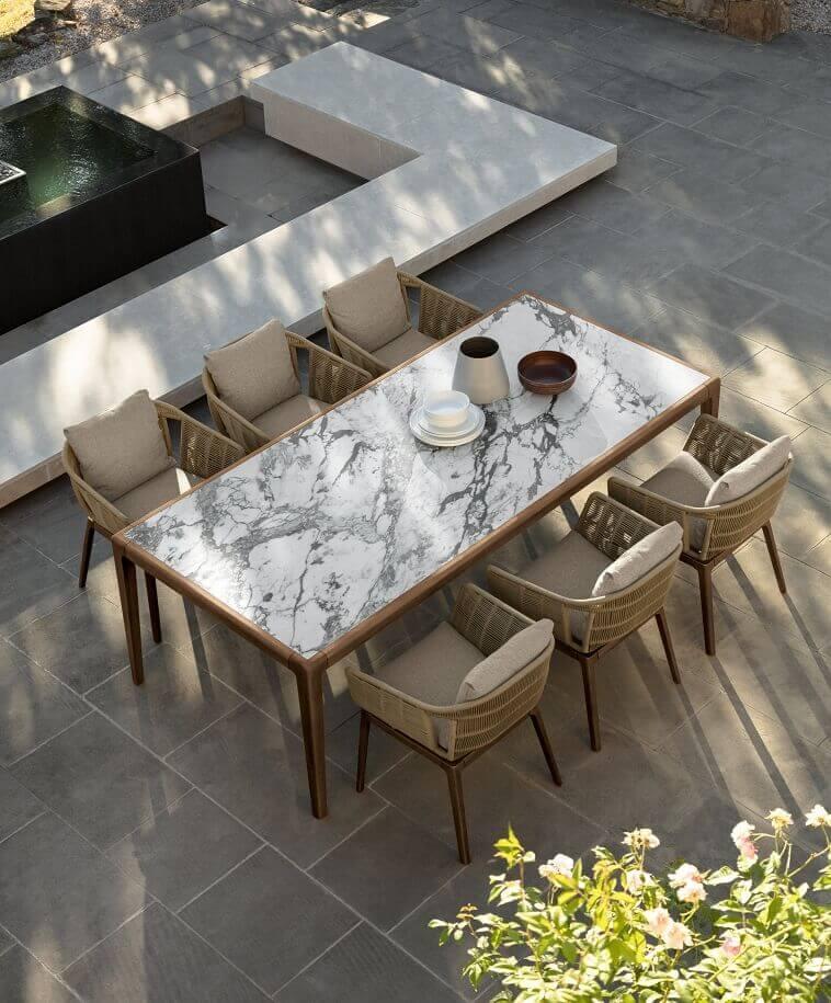 teak outdoor dining set,how to create a designer terrace,talenti cruise teak,ludovica serafini roberto palomba design,italian outdoor furniture brands,