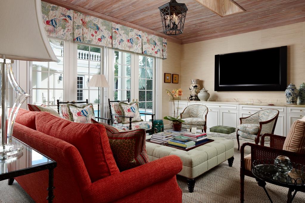 maritime inspired decor,traditional living room styles,luxury villa design interior,red sofa in living room,blue white red luxury living room decor,