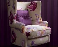 floral decor armchair,floral themed living room,living room design colors,purple violet interior design ideas,purple wallpaper for walls,