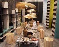 nature inspired dining room,flower themed ceiling light fixtures,tree inspired chairs,colorful dining room ideas,salone del mobile di milano,