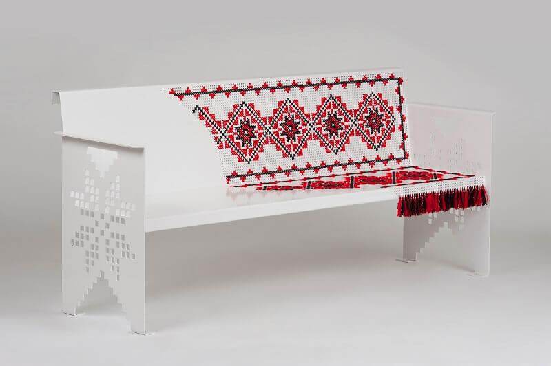 folk style steel furniture,ethnic seating furniture,creative metal bench chairs,romanian furniture manufacturers,folk furniture design,