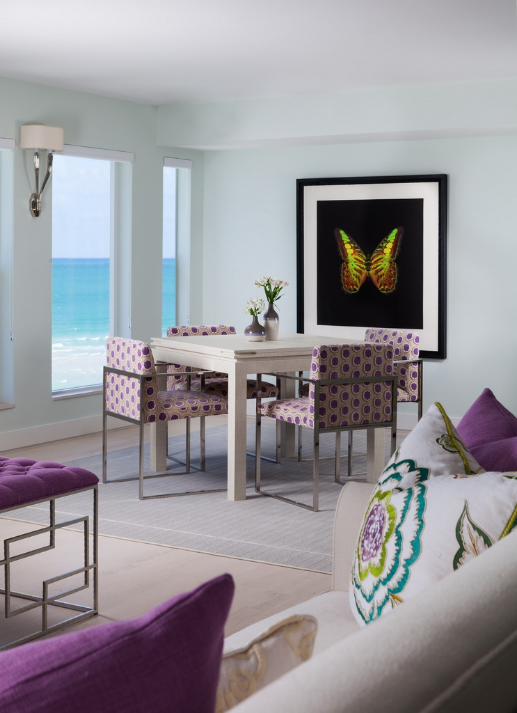 sea view dining room,colorful home decor ideas,dining room design,lilac and green decor,colorful sofa pillows,