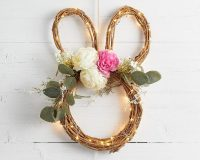 Easter wreaths for front door,Easter decorations ideas front door,Easter bunny wreath,Easter bunny wreath with lights décor,Easter bunny wreath with flowers and micro lights,