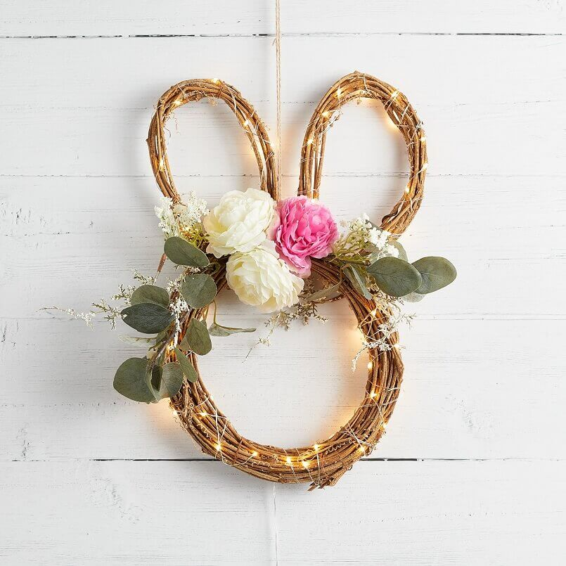 Easter bunny wreath with lights décor,Easter bunny wreath with flowers and micro lights,Easter wreaths for front door,Easter decorations ideas front door,Easter bunny wreath,