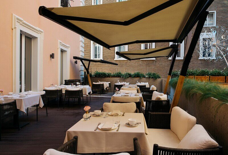 luxury outdoor restaurant italy,outdoor hotel terrace stone wood,romantic hotels in europe,elizabeth unique hotel - a member of design hotels,hotels in rome centro storico,