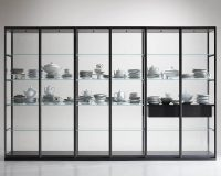 glass bookshelves with doors,contemporary bookcase with glass doors,dining room storage ideas,porro storage ex libris,display cabinets with glass doors,