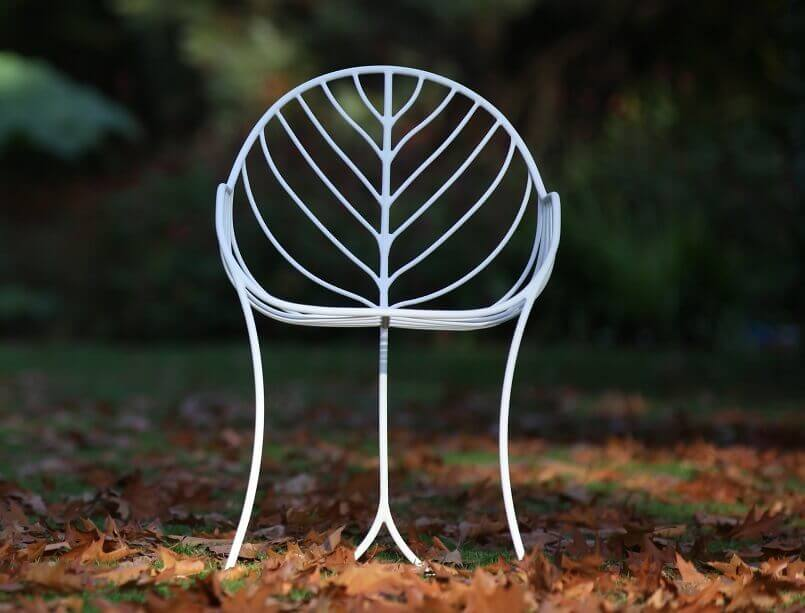 chairs inspired by nature,leaf shaped outdoor chair,leaf inspired furniture,stainless steel garden chairs,bronze garden chairs,