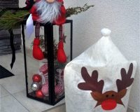 santa and reindeer yard decorations,santa claus home decor,reindeer hat decorations,white and red holiday ornaments,Feng Shui home decorating tips,