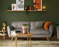 green walls and grey sofa,japandi living room decor,japandi style interior design,how to decorate japandi style,japanese and scandinavian design,