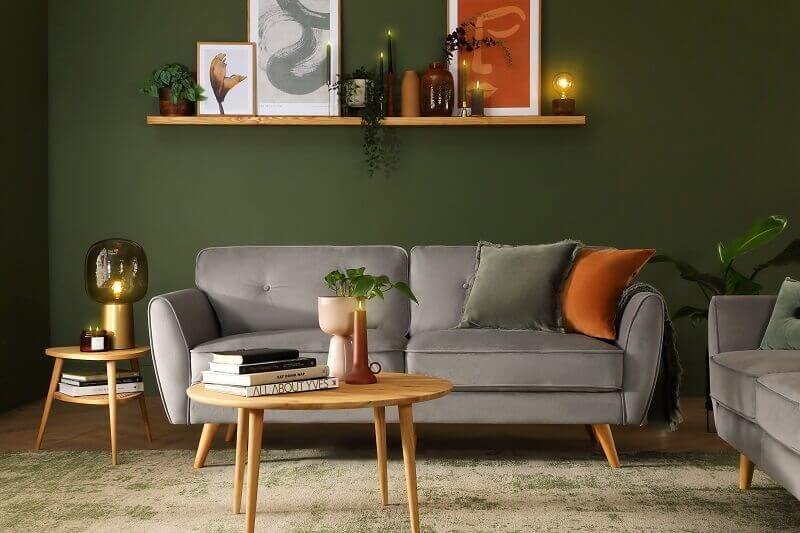 how to decorate japandi style,green walls and grey sofa,japandi living room decor,japandi style interior design,japanese and scandinavian design,