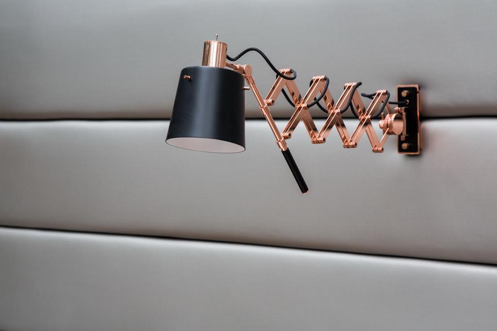designer wall lamp,contemporary wall lamp,copper and black lamp,delightfull lighting company,lighting restaurant interiors,