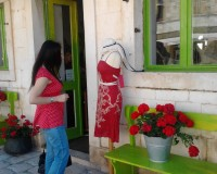 Danica Maricic,interior designer,shopping in hvar town,red green shop designs,red dress outfit ideas,