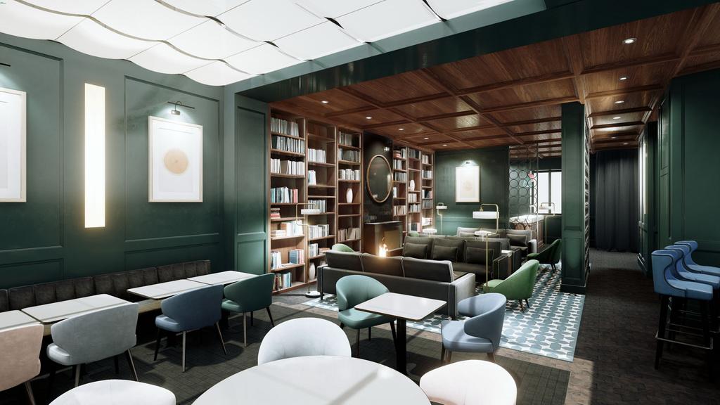 hotel lounge and restaurant design ideas,pastel colored restaurants,lounge and hotel library ideas,blue green pink restaurant chairs,designer restaurants paris,
