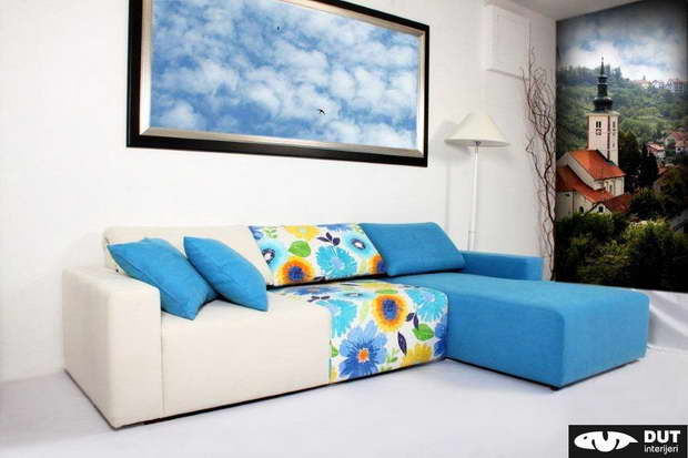 blue and white sofa,corner sofa design,artistic living room ideas,floral living room decor,furniture design,